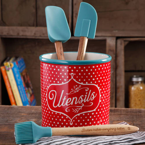 The Pioneer Woman Flea Market 4-Piece Utensil Set with Crock Holder