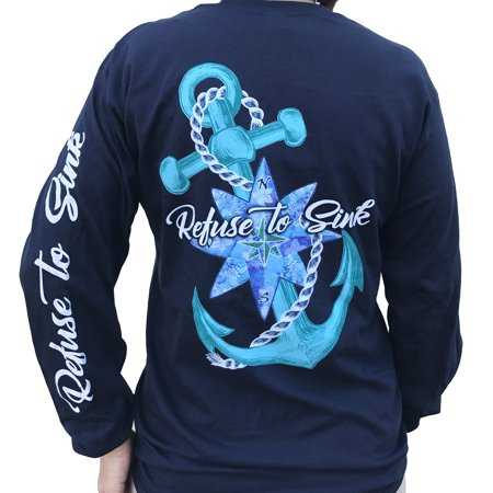 Southern Attitude Refuse to Sink Anchor Navy Blue Long Sleeve T-Shirt (Long Sleeved Navy Blue Shirt)