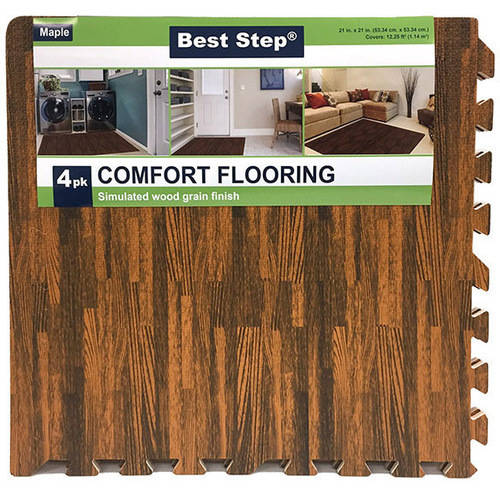 Venture Products Best Step Interlocking Faux Wood Floor Mats with Finishing Borders, 4pk