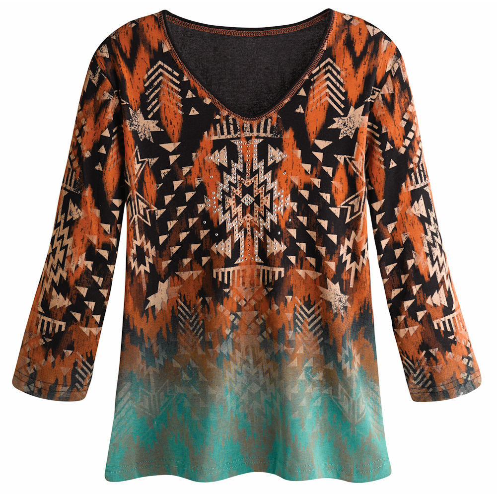 Women's Tunic Shirt - Southwestern Ranch Sunset 3/4 Sleeve Top