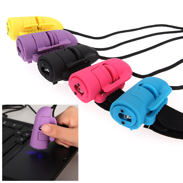 Portable Mini USB 3D Optical Handheld Computers &amp Finger Ring Wired Mouse Mice for Laptop PC,Yellow color