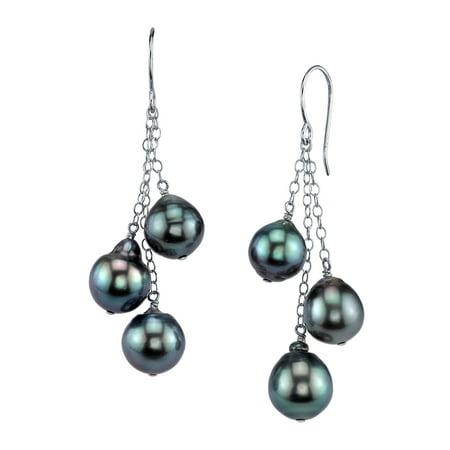 Tahitian South Sea Cultured Drop Pearl Cluster Earrings