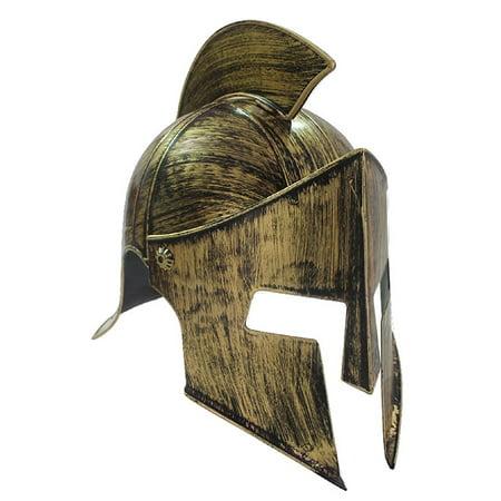 Medieval Iron Knight Spartan Helmet Gold Bronze Roman Warrior Greek Costume