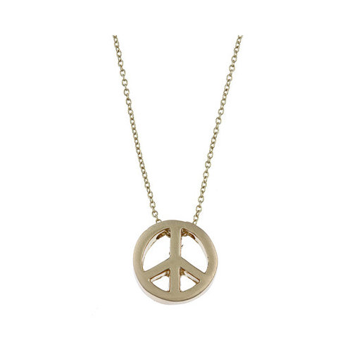 Zirconmania Gold Tone Peace Charm Necklace