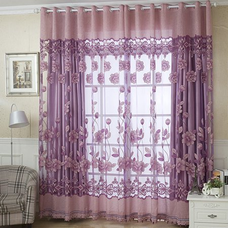 NK Grommet Tulle With Beads Drape Panel Sheer Scarf Valances Divider Room Door Window Curtain Decorative 1x2.5m Luxury Floral Purple Coffee](Door Decorate)