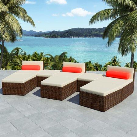 Modular Poly Rattan Garden Furniture Set Brown ()