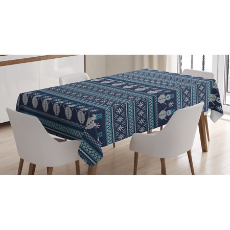 - Nordic Tablecloth, Snowman Pattern Geometric Angled Lines Chevron Zigzag Knitting Design, Rectangular Table Cover for Dining Room Kitchen, 60 X 90 Inches, Dark Blue Turquoise White, by Ambesonne