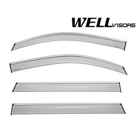 WellVisors Side Window Wind Deflector Visors - For Chevrolet Chevy Tahoe GMC Yukon Cadillac Escalade 15-17 2015 2016 2017 With Chrome