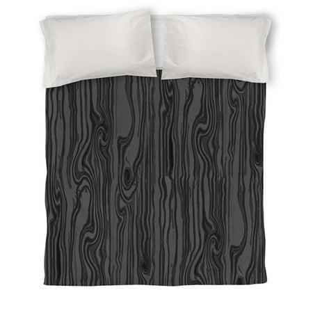 IDG Wood Grain Large Scale Duvet Cover, Black ()