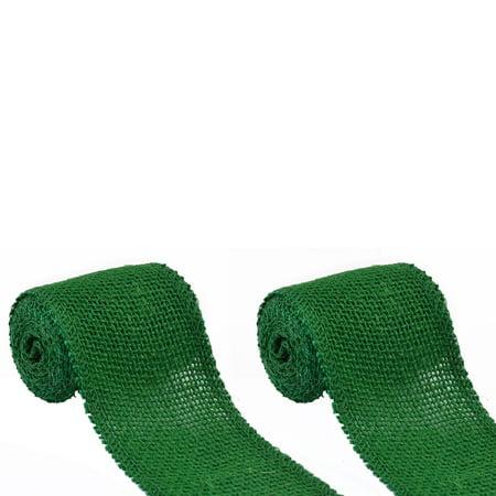 Unique Bargains 2 Pack Jute Roll Strap Burlap Ribbon Fit for Party Home Wedding Decor Green 2.2 - Green Burlap