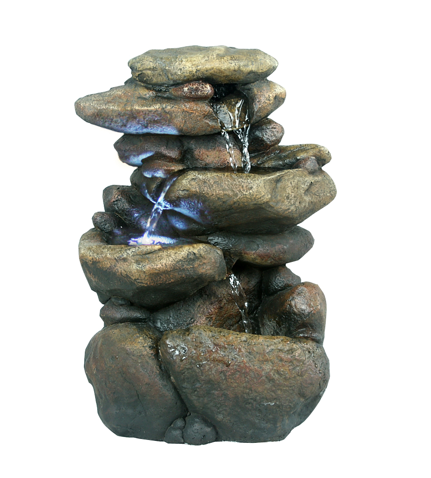 11 Inch Tiered Rock Tabletop Fountain With Led Lights by Benzara