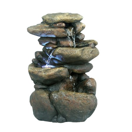 11 Inch Tiered Rock Tabletop Fountain With Led Lights