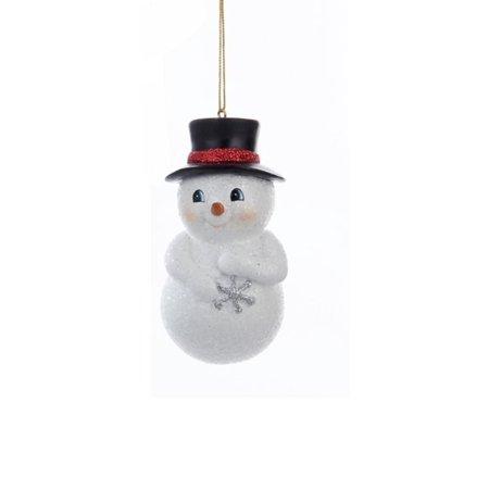 "Kurt S. Adler 3.75"" Chubby Snowman in Top Hat Hanging Christmas Ornament - White/Black"