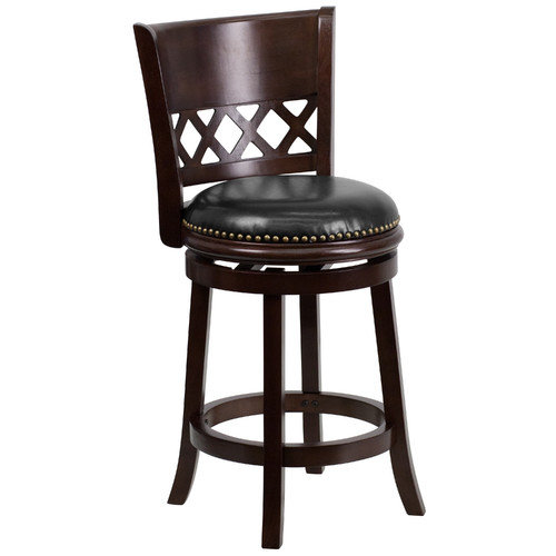 Sensational 24 Cherry Wood Counter Height Stool With Black Leather Swivel Seat Walmart Com Onthecornerstone Fun Painted Chair Ideas Images Onthecornerstoneorg