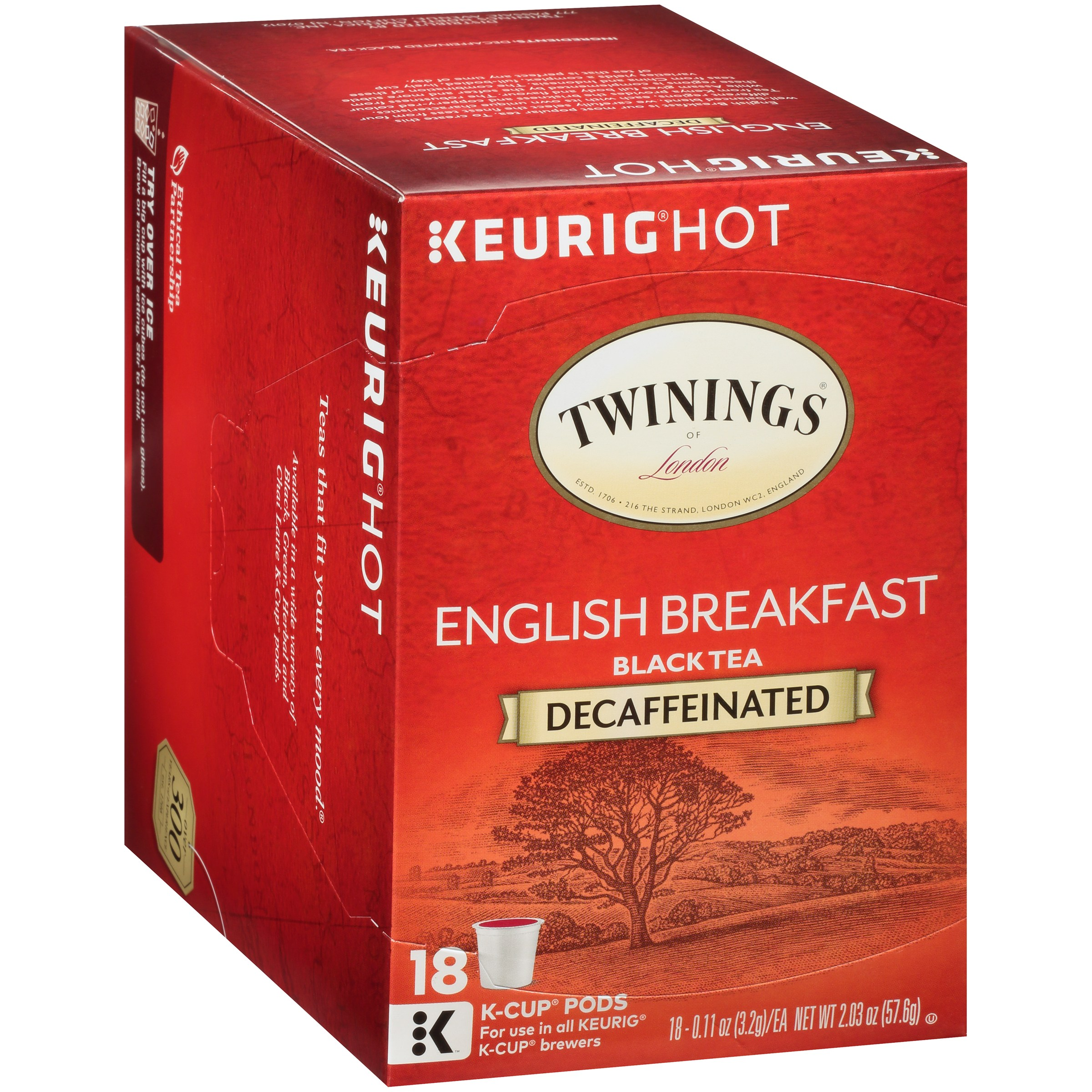 Twinings of London® Decaffeinated English Breakfast Tea 18 ct K-Cup® Pods 2.03 oz. Box