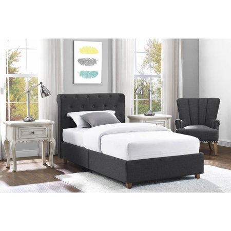 Dhp Carmela Upholstered Linen Bed Gray Twin