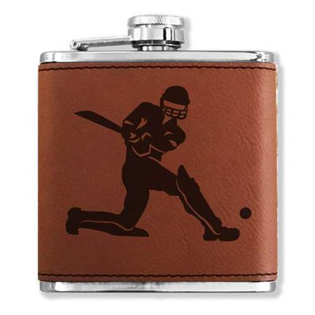 Faux Leather Flask - Cricket Player - Dark Brown (Genuine Leather Covered Flask)