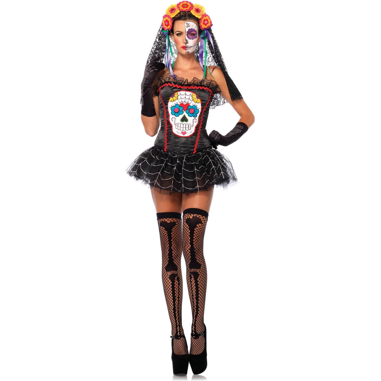 leg avenue sugar skull bustier adult halloween costume walmartcom
