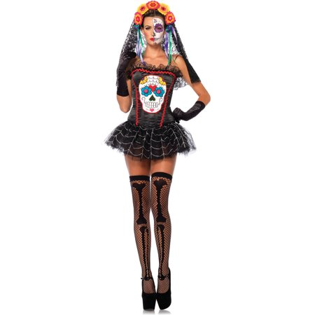 Leg Avenue Sugar Skull Bustier Adult Halloween Costume - Halloween Skulls Wholesale