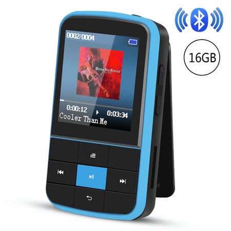 AGPTEK G15 16GB Bluetooth 4.0 MP3 Player, Wearable Clip Supports Playlist FM Radio with Sport Armband, up to 128GB, Blue