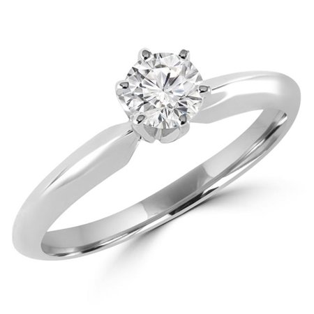 0.33 CT Solitaire Round Diamond 6-Prong Engagement Promise Ring in 10K White Gold, Size 7.25