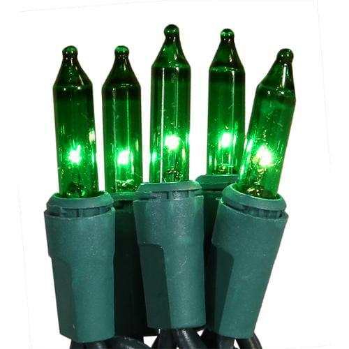 Set of 50 Super Bright Green Mini Christmas Lights - Green Wire