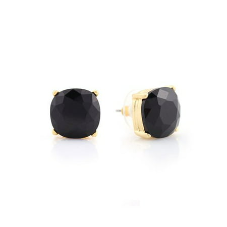 Essentials Black Square Stud Earrings