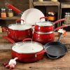 The Pioneer Woman Classic Belly 10 Piece Ceramic Non-stick and Cast Iron Cookware Set, Red