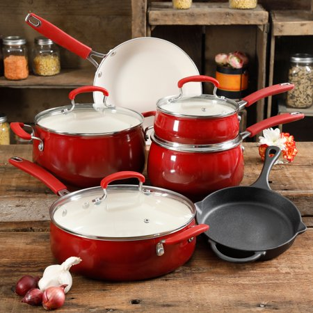 The Pioneer Woman Classic Belly Ceramic Non-Stick Interior 10 Piece Cookware Set for $<!---->