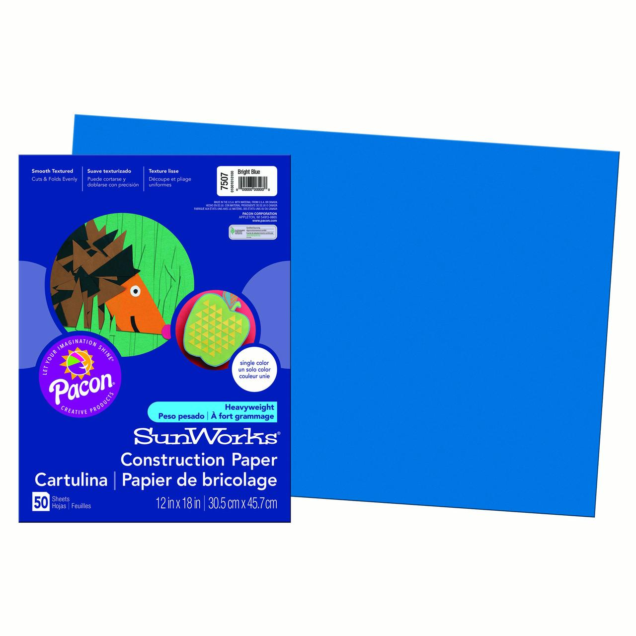 "Pacon® SunWorks® Construction Paper, 12"" x 18"", Bright Blue - 50 Sheets per pack, 10 packs"
