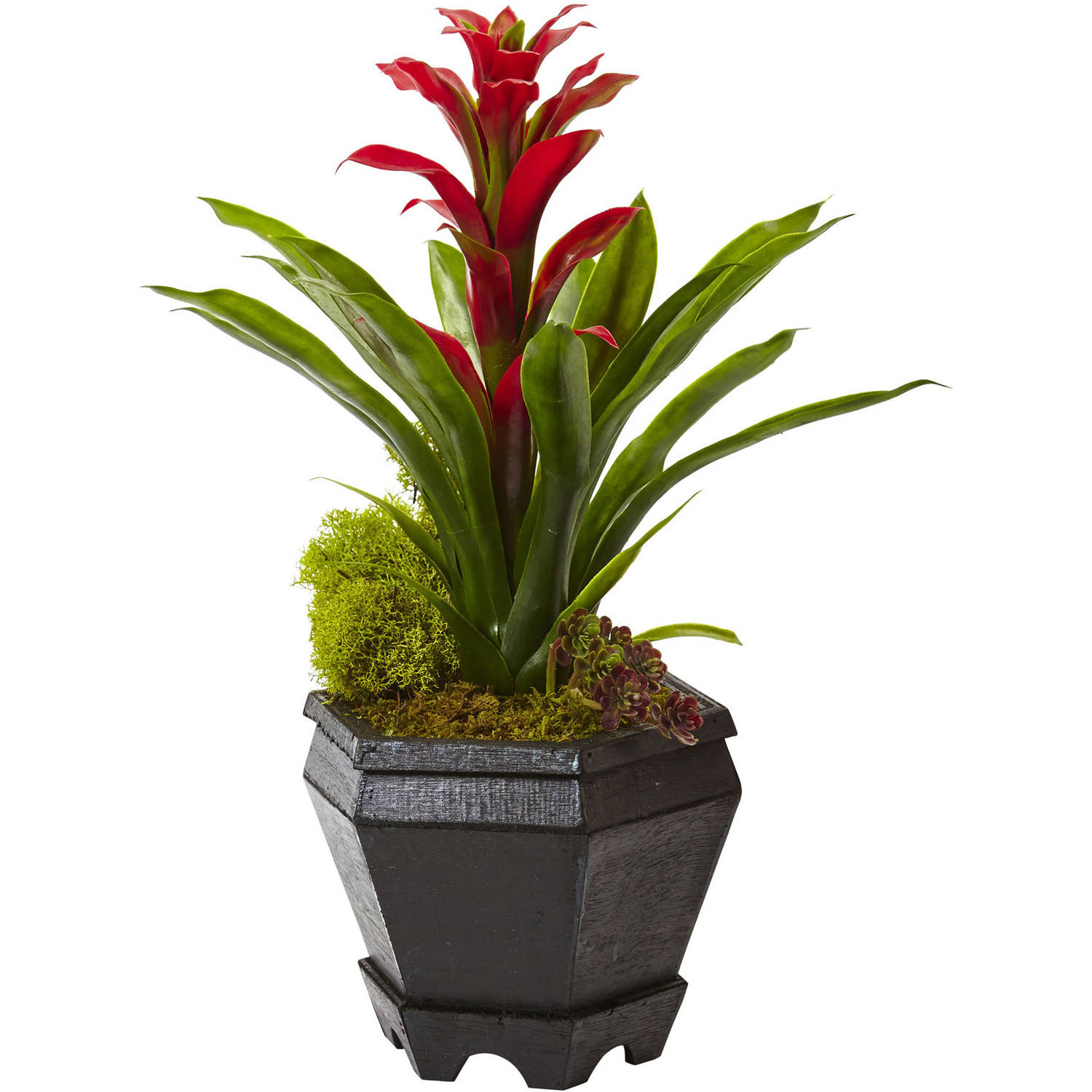 Nearly Natural Bromeliad in Black Hexagon Planter
