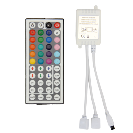 SUPERNIGHT 44Keys Dual Connector Output IR Remote Controller 2A/Channel For 3528/5050 RGB LED Light Strip