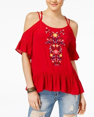 Almost Famous Juniors Embroidered Cold-Shoulder Top S