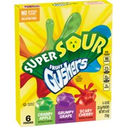 Fruit Gushers Super Sour Apple, Grape &  Cherry 6 ct 5.4 oz