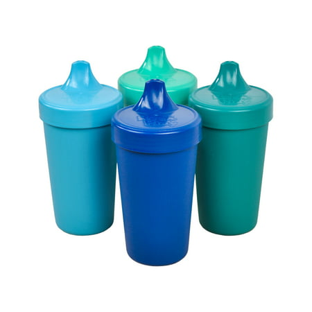 Re-Play Made in The USA 4pk No Spill Sippy Cups for Baby, Toddler, and Child Feeding - Sky Blue, Aqua, Navy, Teal (True
