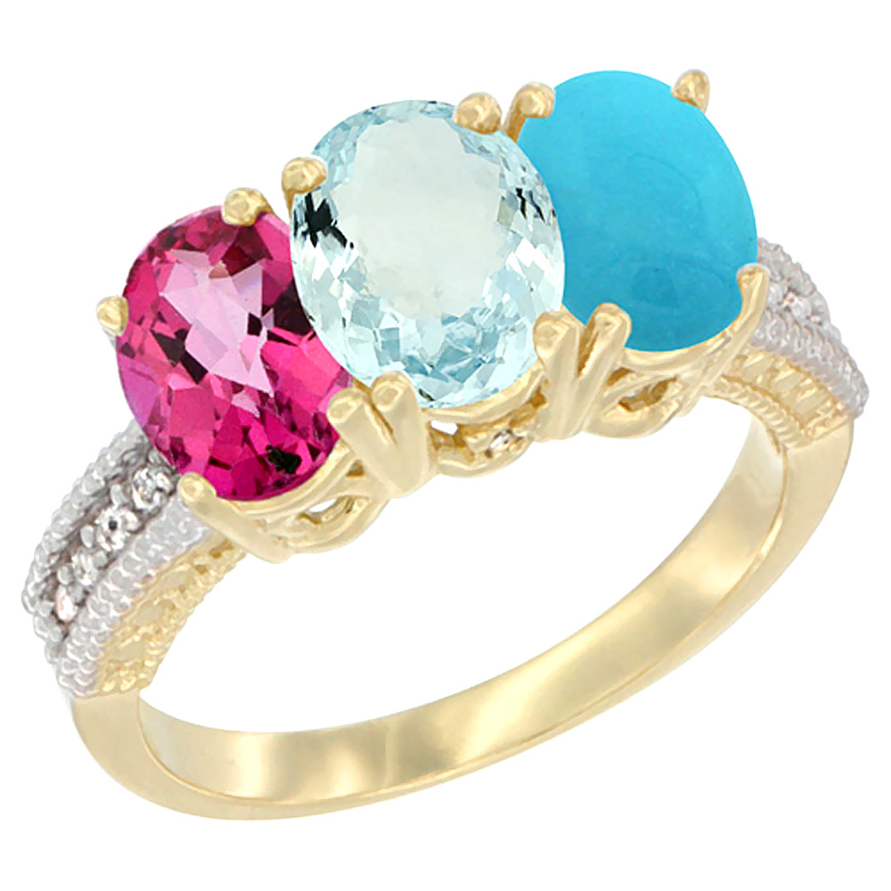 14K Yellow Gold Natural Pink Topaz, Aquamarine & Turquoise Ring 3-Stone 7x5 mm Oval Diamond Accent, sizes 5 10 by WorldJewels