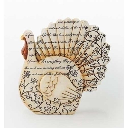 6 75  Thanksgiving Autumn Harvest Turkey Figure With Inspirational Verse