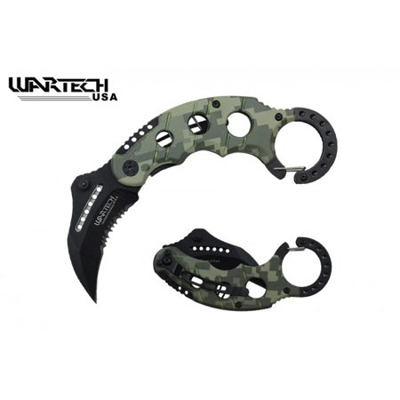 "Spring-Assisted Folding Knife | 2.5"" Black Serrated Blade Digital Camo Karambit"