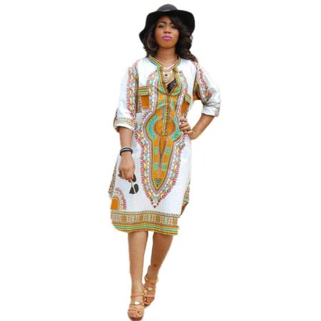New Women Summer Casual Deep V-Neck Traditional African Print Party Dresses M ()
