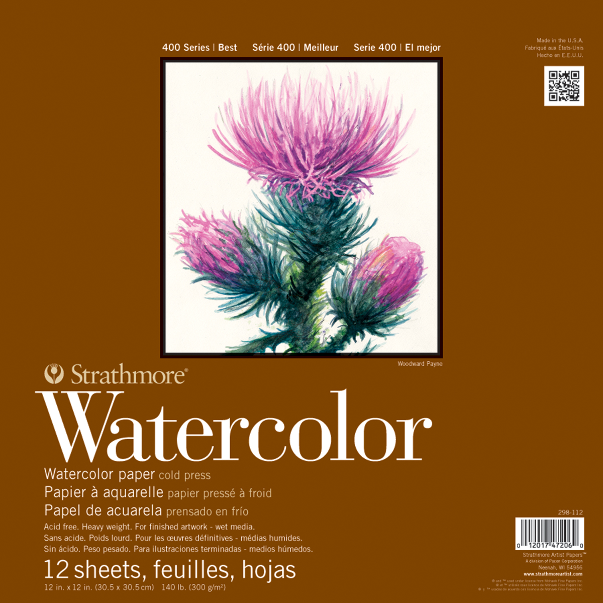 "Strathmore Watercolor Paper, Pad, 12"" x 12"", Cold Press, 140 lb, 12 Sheets"