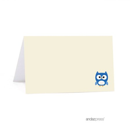 Boy Owl Baby Shower Table Tent Printable Place Cards, 20-Pack - Owl Boy Baby Shower