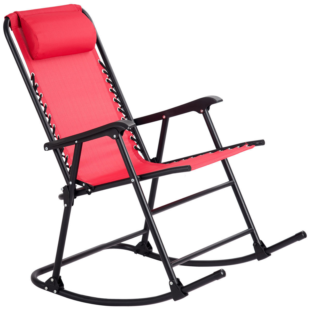 GHP Red Folding Zero Gravity Porch Patio Indoor Rocking Chair with Pillow Headrest