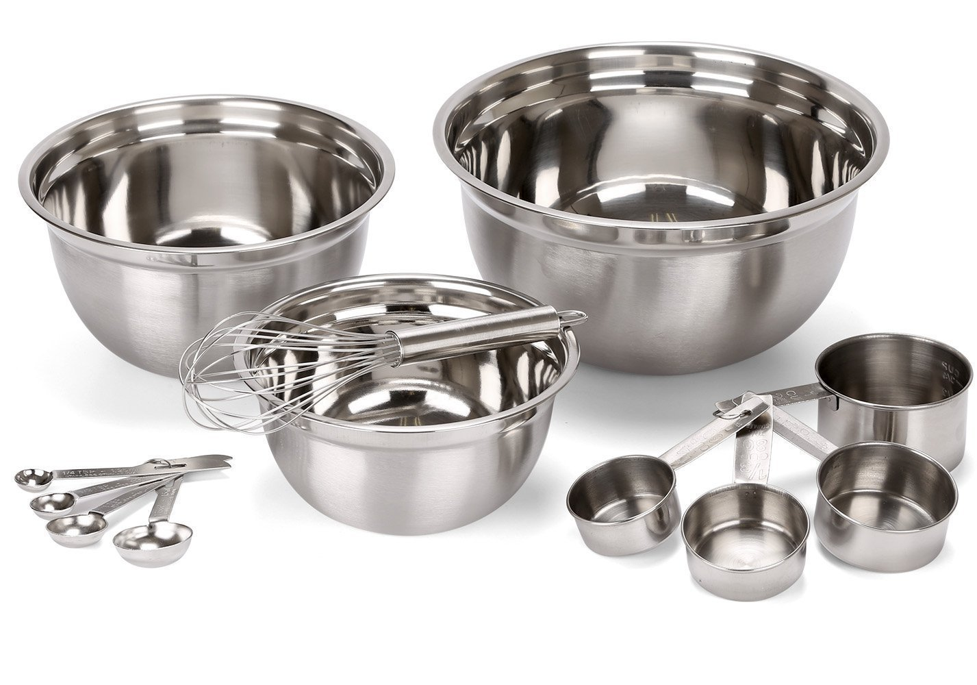 12 Piece Stainless Steel Mixing Bowls, Includes Measuring Cups, Measuring Spoons And Barrel Whisk..., By... by