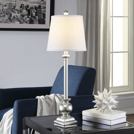 Margate 29.5-inch Resin Tapered Drum Buffet Lamp, Silver