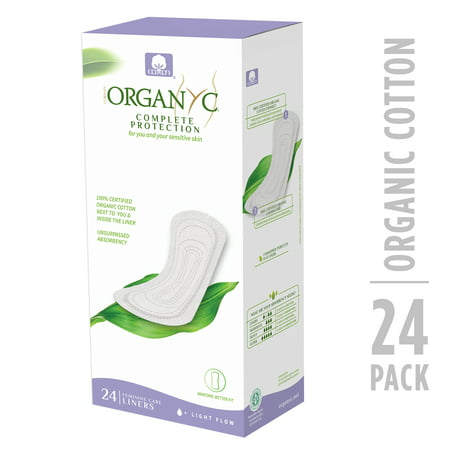 Organic Panty Liners (Organyc 100% Certified Organic Cotton Panty Liner, Light Flow, 24 Count, Flat)