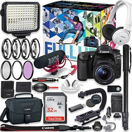 Canon EOS 80D DSLR Camera Premium Video Creator Kit with Canon 18-55mm Lens + Sony Monitor Series Headphones + Video LED Light + 32gb Memory + Monopod + High End Accessory