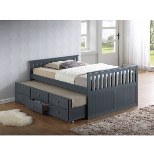 Broyhill Kids Marco Island Full Captain's Bed with Trundle, Grey
