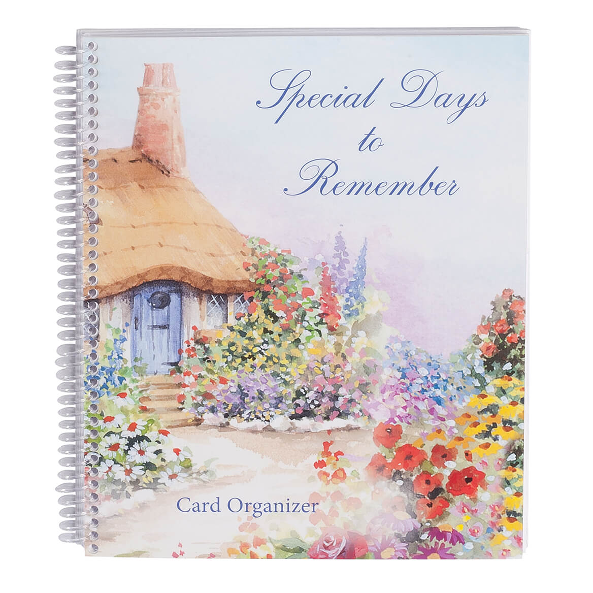 Greeting Cards Organizer - Reusable Card Storage - Never Forget Birthdays, Anniversaries, and Weddings - Spiralbound Book- 8 1/4 in. Wide by 9 ½ in. High- Cottage Design