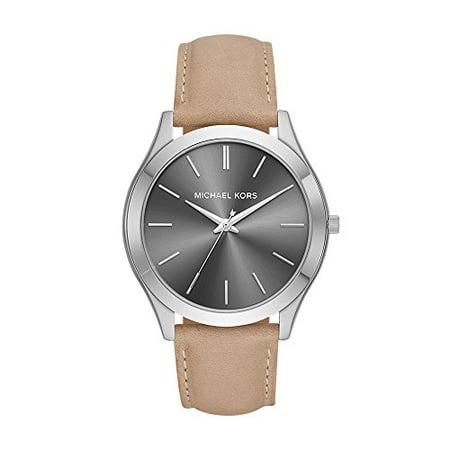 Michael Kors Men's 'Slim Runway' Quartz Stainless Steel and Leather Casual Watch, Color:Brown (Model: (Michael Kors Model Number)