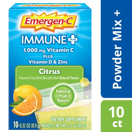 Emergen-C Immune+ (10 Count, Citrus Flavor) Dietary Supplement With Vitamin D Fizzy Drink Mix, 1000mg Vitamin C, 0.31 Ounce